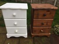 Two solid wooden bedside table / drawers