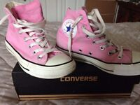 GIRLS PINK CONVERSE HI TOP TRAINERS
