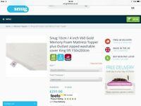 King size 4inch memory foam topper as new