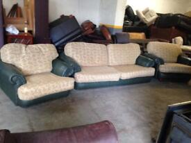 FABRIC + LEATHER SOFA SET CHESTERFIELD LOOK