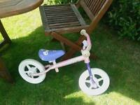 CHILDS PLASTIC RED SCOOT ALONGS X2 ALSO SMALL PINK BALANCE BIKE