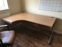 Ergonomic desk, pedestal and leather chair. 4 sets available