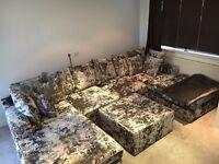 LUXURY CRUSHED VELET SOFA - SEATS UPTO 8 PEOPLE!!