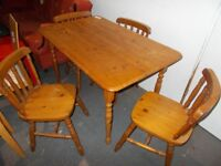 Pine Table and four Chairs...