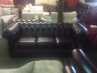 Handcrafted antique red leather chesterfield Settee, chair & stool