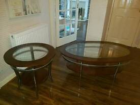 Solid Oak and Chrome Coffee Table and side tables.