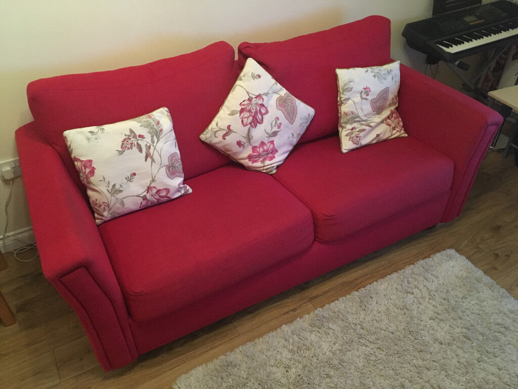 3 Seater Coil Spring Red Sofa Bed In Menstrie