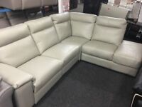 New/Ex Display Serento LazyBoy Leather Corner Electric Recliner Sofa + Storage Chaise