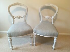 Two beautifully refurbished French antique chairs