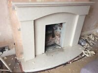 Marble fireplace including mantel, surround and hearth