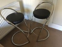 Pair of black faux leather & chrome Bar Stools