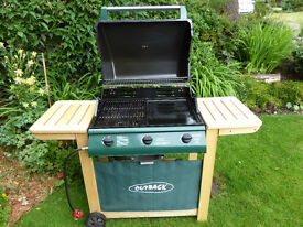 Gas BBQ, Outback Hunter Select 3 burner & griddle, complete with gas hose/regulator & user guide