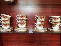 old country rose tea cups with sauce and plate x12