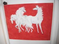 WHITE HORSES ON RED HARDBOARD BACKGROUND OIL PAINTING