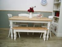Stunning Pine Country Farmhouse 5ft Table Chair amd Bench Set.