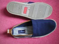 Men's casual beach shoes, M & S, navy and white canvas, Blue Harbour unworn size 7, gent's loafers