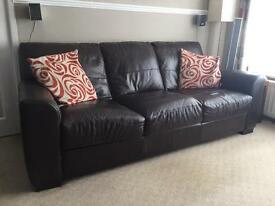 Real leather dark brown 3 seater sofa
