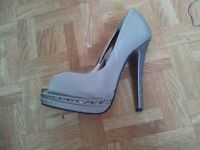 brand new never worn size 5 silver peep toe