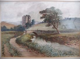 Landscape Watercolour Painting Dated 1883 and Signed Paterson