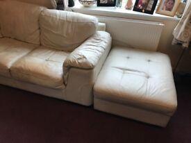 Leather sofa - corner suite - cream