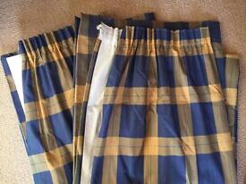 Blue and yellow checked curtains