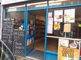 newsagents with take out food counter
