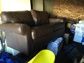 Two (2x) brown leather 2 seater sofa