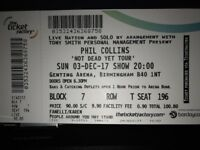2 x Phil Collins tickets for sale in Birmingham, this Sunday 3rd December.