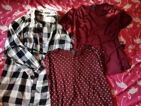 3 maternity shirts size 12
