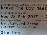 2 x Drake Concert Tickets at the Barclaycard Arena, Birmingham - Wednesday 22nd February 2017.