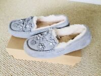 UGG Suede Ansley Petal grey slippers with Swarovski and with box