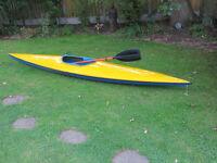 14 ft basic canoe, feathered paddle & spraydeck