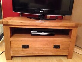 Lovely solid wood unit with shelf and drawer