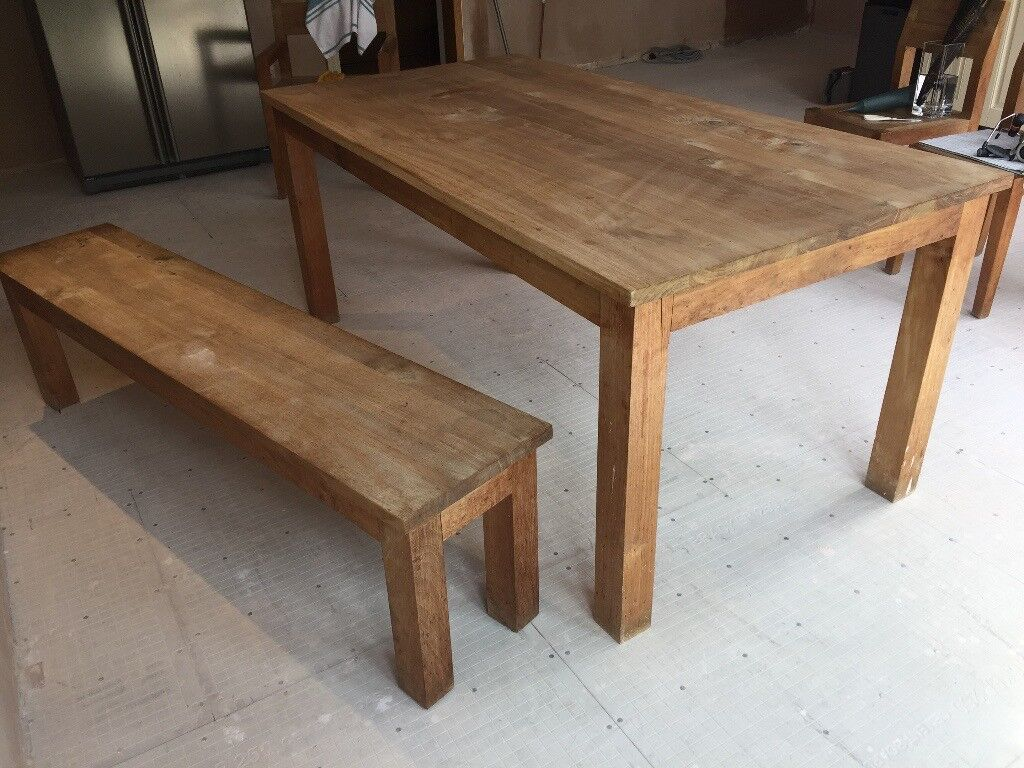 Ethnicraft solid teak dining table and bench