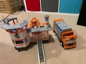 Playmobile life guard station boat figures and bin lorry