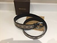 Gucci leather and canvas belt. 32-36 inch waist
