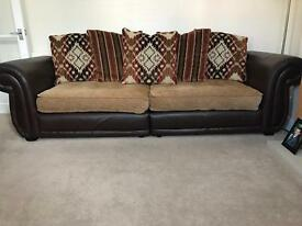 4 seater sofa 3 seater sofa and storage footstool. Bought from DFS. Real leather.