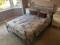 Regency Silver Metal Double Bed Frame (Used) Vintage Boho Style