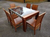 Dark Wood Glass Table 6 Matching Chairs FREE DELIVERY 489