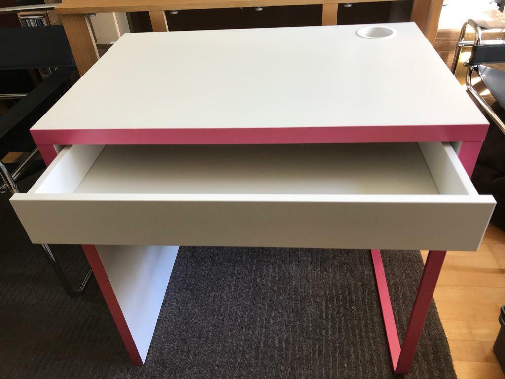 Quality Pink White Ikea Micke Desk Study Computer Table