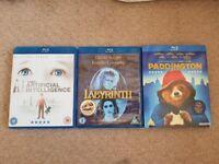 Blue ray films, Paddington Bear, Labyrinth , Artificial intelligence,