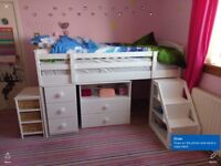 Mid sleeper bed with pull out desk, Chester drawers, shelves and steps to get into bed