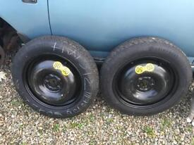 2X 125/90/R16 space saver wheels on Continental tyres