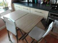 TWO Folding tables & THREE Folding chairs