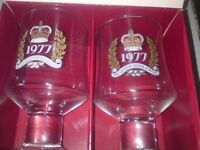 pair of 1977 silver jubilee goblets boxed