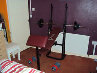 V-Fit Weights Bench With Preacher,Squat,Cast Weights & Bar
