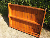 Solid pine plate rack display cabinet shelving unit
