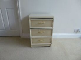Bedside cabinet two tone cream & beige