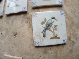 Ceramic tiles with birds delft style