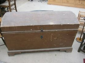 VINTAGE LARGE SOLID PINE TRUNK - CHEST. DOMED. VERSATILE LOCATION USAGE. VIEWING/DELIVERY AVAILABLE